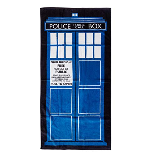 getDigital Police Call Box Badehandtuch - Großes Strandhandtuch für Geeks, Nerds und Sci-Fi Fans - 140 x 70 cm, 100% Baumwolle, geprüft nach Öko-Tex Standard 100
