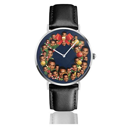 Unisex Business Casual Weihnachten Multi Kranz Carlton Banks Fresh Prince Uhren Quarz Lederuhr