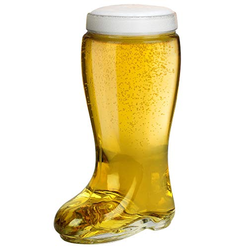 Das Boot Style One Liter Beer Glass - Oktoberfest Themed Large Oversize German Stein that Holds Over 2 Bottles - Perfect For Parties, Drinking Games, and Festivals