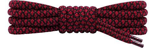Ladeheid Qualitäts-Schnürsenkel, Rundsenkel für Arbeitsschuhe und Trekkingschuhe aus 100% Polyester, ø 5 mm, 27 Farben, Längen 70-220 cm (Schwarz/Claret, 90 cm/ø 5 mm)