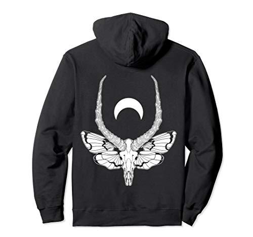 Black & Death Metal | Pastel Goth Soft Grunge | Moth Skull Pullover Hoodie