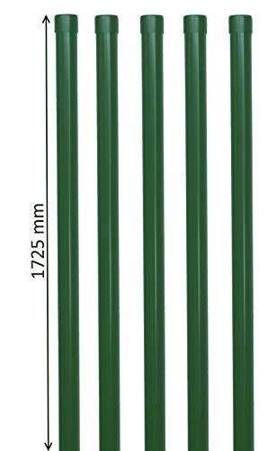 5 Stück Zaunpfosten 1725 mm lang in grün RAL 6005 als Zaunpfahl Pfosten Ø34mm aus Metall für Zaun mit Schweißgitter Draht
