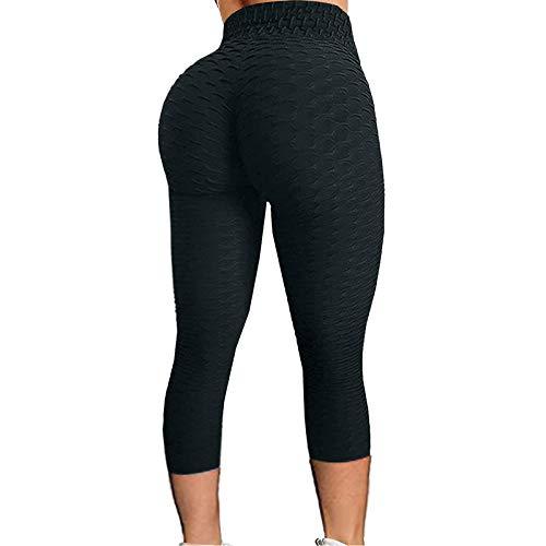 BOIYI Panal Arrugado para Nalgas de Las Mujeres Leggings Levante los Pantalones de Yoga de Cintura Alta Elegante con Gimnasio de Control de la Barriga, Pantalones Medias(Negro,XXL)