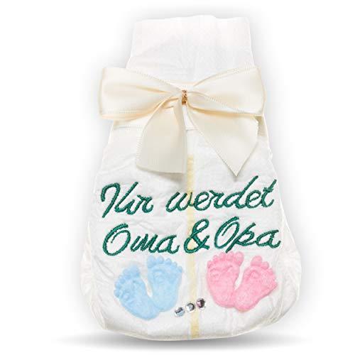 Ihr werdet Oma und Opa, Tanjo bestickte Windel, creme, Schwangerschaft verkünden Großeltern, Schwangerschaft verkünden Oma Opa, ihr werdet Großeltern Geschenk zur Geburt