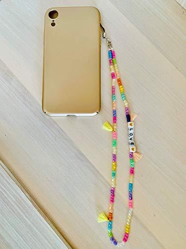 Phone strap perline charm HipHop personalizzato con lettere e nome. Porta cellulare da polso e gioiello per il tuo telefono. Idea regalo fantastica. Festa della mamma