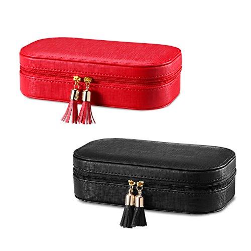 Vlando Faux Leather Tassels Travel Jewelry Box Organizer Display Storage Case Take-Out Handbags (Red & Black)