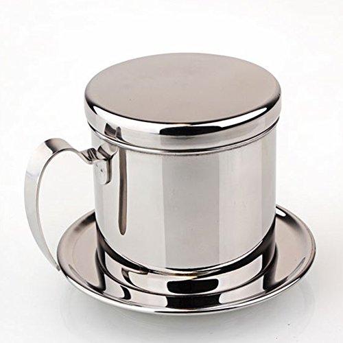 Kaffeemaschine, Edelstahl, Vietnam-Kaffeemaschine mit Griff, für eine Tasse, für Zuhause, Küche, Büro, Camping und Reisen (Silber)