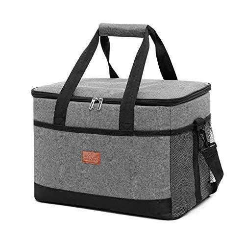 ZAAQ 33 l izolowana torba na lunch o dużej pojemności składana chłodziarka na lód torba na zakupy piknik jedzenie dostawa torba na kemping, szara