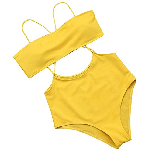 Women Texture Bikini Push-Up Pad Swimwear Bathing Swimsuit Beachwear Set Yellow