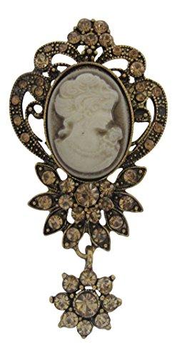 Brooch Boutique Broche de cristal estilo camafeo clásico inspirado en estilo vintage, regalo del día de la madre, acabado dorado bruñido