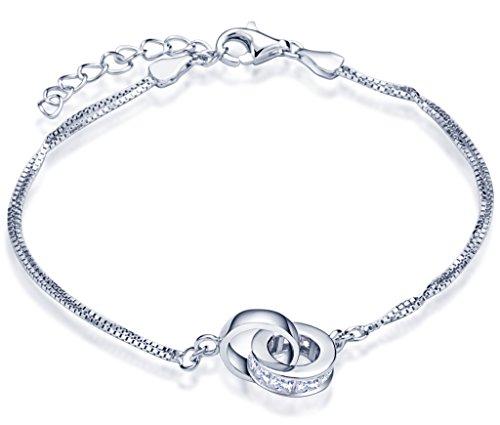 Unendlich U Ineinander Verschlungene Ringe Damen Charm-Armband 925 Sterling Silber Zirkonia Doppelringe Armkette Verstellbar Armkettchen Armreif, Silber