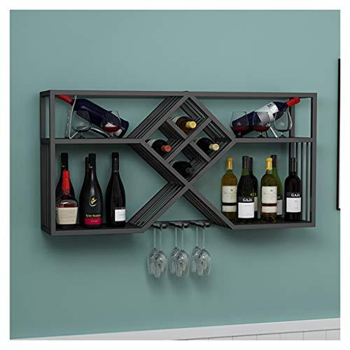 Soporte de Stemware colgante Botellero vino industrial con soporte vidrio, Porta Botella Vino metal montado pared, decoración pared organizador almacenamiento Stemware, estante vino para bar/cocina/