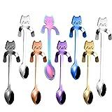 Juego de 8 cucharas de café de acero inoxidable para colgar, diseño de gatito, cucharillas de té para colgar, para mezclar, azúcar, postre, mermelada, helado