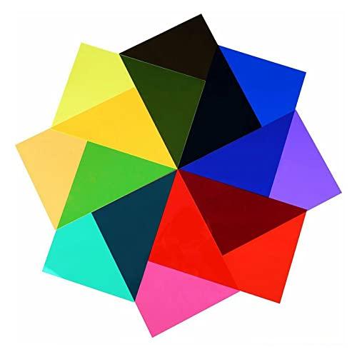 #N/D Filtro de gel de color Gel de color Filtro de luz Corrección de color Iluminación de plástico Foto Flash Color Filtro 9 Colores surtidos