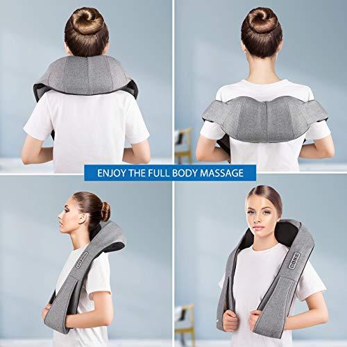 41ob9IdkcqL - Masajeador de Cuello, Carevas Masajeador Cervical con 3D Rotación Shiatsu y Función de Calor para Relajar Hombros y Espalda en Casa, Oficina o Coche