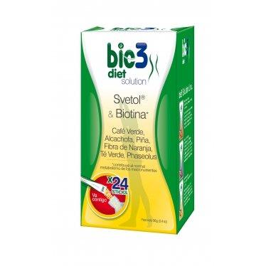 Bio3 Diet Solution - Svetol, Biotina, Alcachofa, Pina, Fibra, Te Verde Y Phaseolus - 24 Sticks - Agradable Sabor - Diluir En Agua Y Tomar - Recomendado Por Expertas De EnFemenino - Envio Gratis
