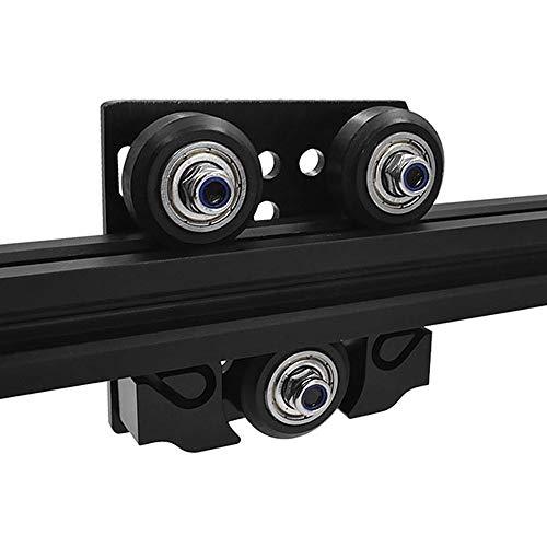 Befenybay Rueda en V con placa y hebilla de cinturón de 6 mm para 2020 perfil de aluminio 3D piezas de impresora para CNC Kossel rueda negra (rueda grande con hebilla)