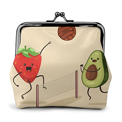 Carteras de Cuero Avocado Strawberry Playing Volleyball Wallet Buckle Leather Travel Makeup Change Purse Women Gift