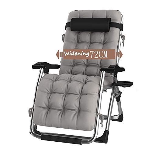 DQCHAIR Outdoor Reclining Zero Gravity Chair with Cup Holder, Extra Wide Adjustable Lounger Chair for Patio Garden Beach Pool, with Cushions Support 200kg (Color : Silver)