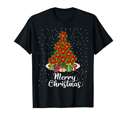 Women's Merry Christmas Poinsettia Flower Tree Plant Gift T-Shirt