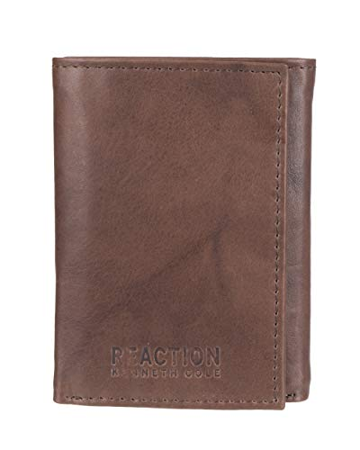 Kenneth Cole REACTION Men's RFID Leather Slim Trifold with ID Window and Card Slots, Brown, One Size