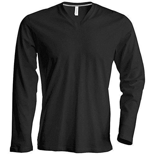 T-shirt à manches longues et col en V coupe cintrée Kariban pour homme (L) (Gris)