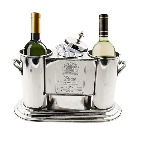 Two Bottle Champagne & Wine Ice Bucket Chiller, Silver- Handmade Elegant Mid-Century French Wine Bucket Chiller- Fits 2 Standard Bottles- Premium Two Wine Bottle Ice Bucket for Wine Lovers