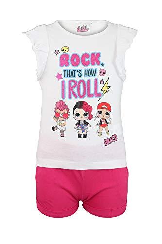 Characters Cartoons LOL Surprise - Coordinato Completo Set 2pz T-Shirt Maglia a Maniche Corte e Pantaloncino - Bambina - Prodotto Originale [1306 Bianco - 5 A - 110 cm]