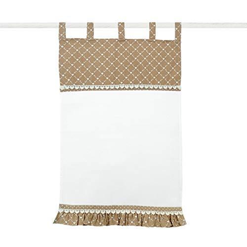 Angelica Home & Country Rideau Store à Volants, Store Relevable, Brises Bise Campagne Chic - Volant - 45x70 - Blanc/Beige - 100% Coton