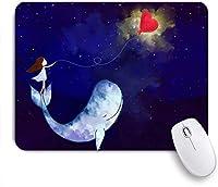 KAPANOUマウスパッド 青い平和なグラフィック水彩デジタルペイントガールスタンド抽象的な赤い愛クジラ宇宙 ゲーミング オフィ良い 滑り止めゴム底 ゲーミングなど適用 マウス 用ノートブックコンピュータ