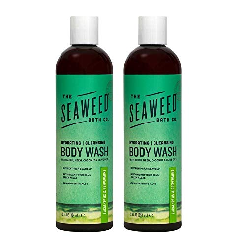 The Seaweed Bath Co. Body Wash, Eucalyptus and Peppermint (2-pack), With Natural Bladderwrack Seaweed, SLS and Paraben Free, 2x12oz