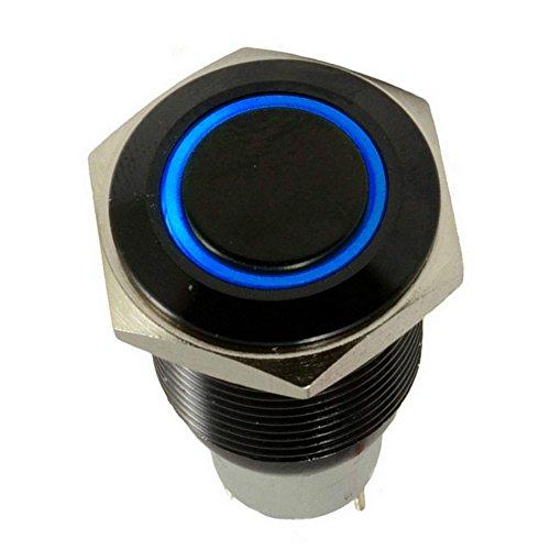 Bouton poussoir en métal Mintice™ coque noire 16 mm symbole œil d'ange à DEL 12 V interrupteur à bascule pour voiture et autre véhicule