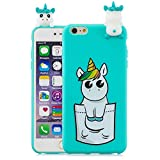 LAXIN Cute 3D Unicorn Case for iPhone 6 iPhone 6s,Ultra Slim Fit Soft Silicone Gel Bumper Shockproof Protective Cartoon Phone Case with Lovely Animal Pattern for iPhone 6/6s,Mint Green