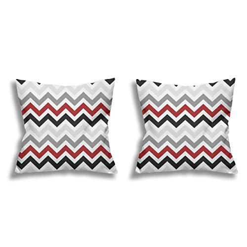 Quadratischer Kissenbezug mit Zickzack-Muster, 2 Stück, aus Leinen, für Sofa, Couch, Bett, Stuhl, 45,7 x 45,7 cm
