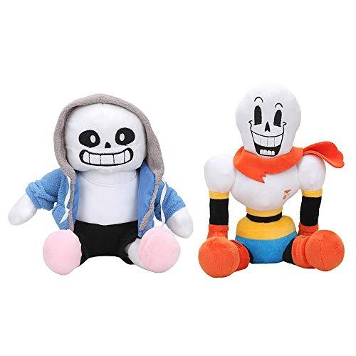kelee Plush: 2pcs Undertale Plush Figure Toy Stuffed Toy Sans Papyrus Chara Frisk Flowey Temmie Asriel Toriel Lancer Ralsei Undyne Doll for Children(9.8''-14.1'') (B-Sans&Papyrus(Sitting))