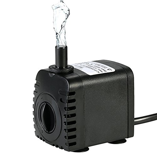 Decdeal 600L/H 8W Submersible Water Pump for Aquarium Tabletop Fountains Pond Water Gardens and Hydroponic Systems with 2 Nozzles AC220-240V