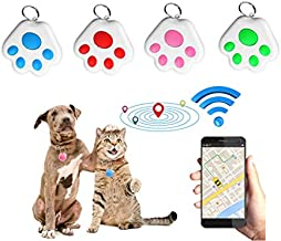 4PCs Mini Pet GPS Trackers, Key Finder, Dog Tracking Device, Item Locator- Paw Portable Bluetooth Intelligent Anti-Lost Device for Phone, Item, Pets, Children,Wallet, Locate Anything (B)