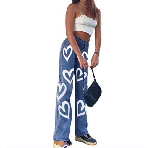 JUNMIN Personalidad Graffiti Impresión Suelta Pierna Recta Jeans Mujeres Moda High Cintura Pantalones Casuales (Size : Small)