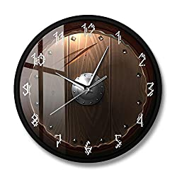 CHENGCHENG Wall Clock Modern Art Creative Crazy Barbarian Shield Indoor Mute Motion 3D Effect Quality Quartz Battery Operated Non Ticking Home Kids Room Office Kitchen Bedroom Decorative