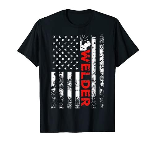 Welder Vintage USA American Flag Welding T-Shirt