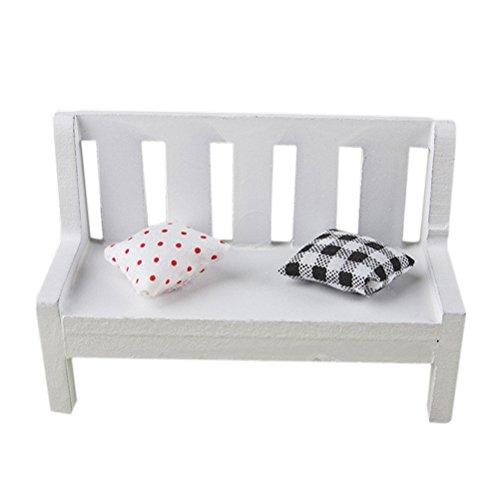 VORCOOL Mini Holzbank Ornament Stuhl mit Zwei Mini Kissen für Photo Booth Props Home Dekoration