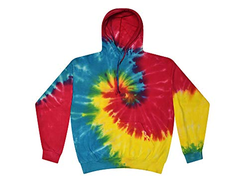Colortone Tie Dye Multicolored Reactive Hoodie Sweatshirt Pullover Kids and Adult (Large)
