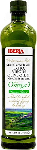 Iberia Mediterranean Style Omega 3 Cooking Oil, 34 fl oz, Blend of Extra Virgin Olive Oil, Grapeseed Oil, Sunflower Oil and Fish Oil (1 Liter)
