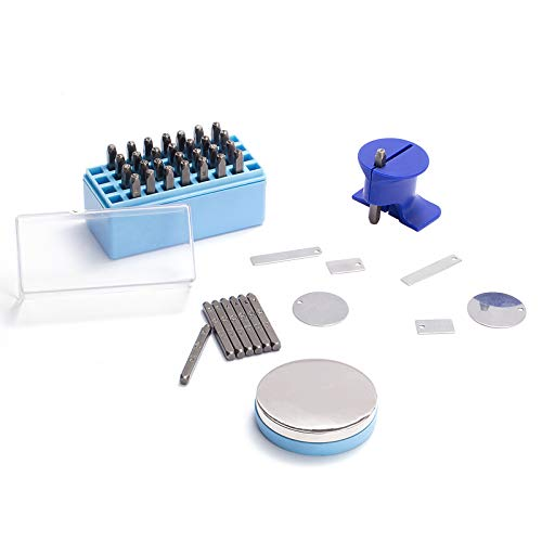 58pcs Number and Letter Metal Stamping Kit- 36 Hardened Iron Stamp Characters + 20 Metal Blank Pendants + Steel Bench Block + Simple Strike Steel Stamp Punch Set for Making Jewelry Leather Wood Craft