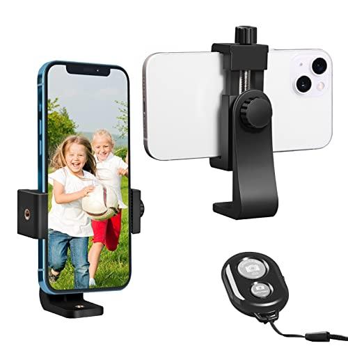 AFAITH Adattatore Supporto Smartphone per treppiede Cellulare Universale Rotazione di 360 Gradi per Fotografia, Bastone Selfie, iPhone XS/XS Max/XR, Huawei P9 P10(Include Bluetooth Telecomando)-PA074