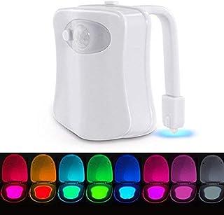 Lampe de Toilette Veilleuse LED Détecteur, VADIV TL01 Détecteur de Mouvement pour Cuvette Siège 8 Changement de Couleurs É...