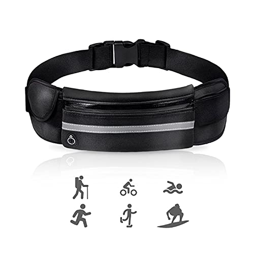 Riñonera de deporte para correr, impermeable, bolsa de running, ajustable, para billetes, teléfono móvil, ideal para escalada, bicicleta, running (negro)