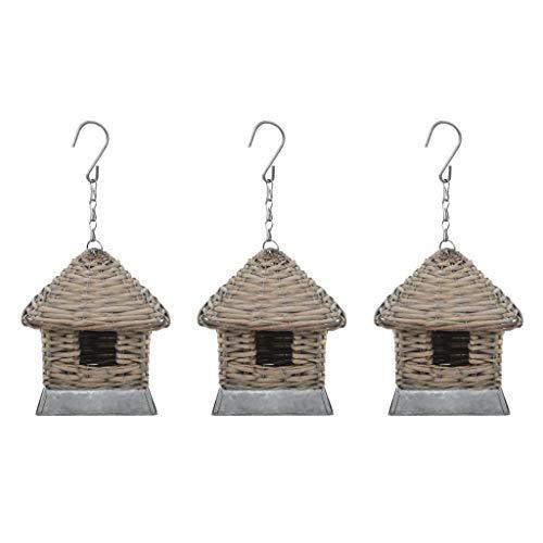 Festnight Casas para Pájaros de Mimbre Caja Nido para Loros Agapornis 3 Unidades Marrón 17 x 17 x 19 cm