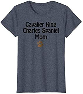 Womens Cavalier King Charles Spaniel Mom T-shirt | Women's Tee XL Heather Blue [並行輸入品]