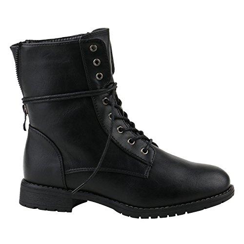 Stiefelparadies Damen Stiefeletten Profilsohle Worker Boots Leder-Optik Schnürstiefeletten Camouflage Verlours Schuhe 144216 Schwarz Schwarz 37 Flandell